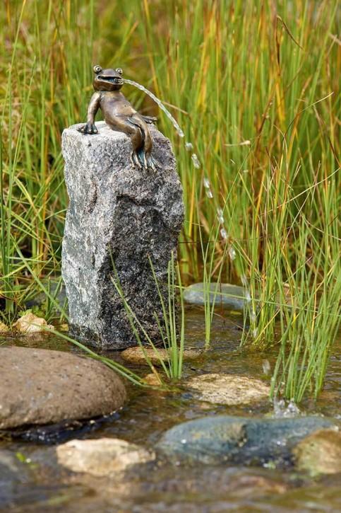 Wasserspiel SET Bronzefigur Froschkönig Heinrich auf Granitsäule Gartenbrunnen
