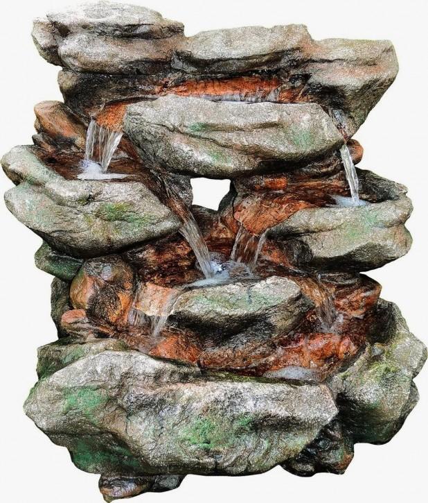 Wasserfall Kava 80 cm Polystone Gartenbrunnen inkl. Pumpe und LED