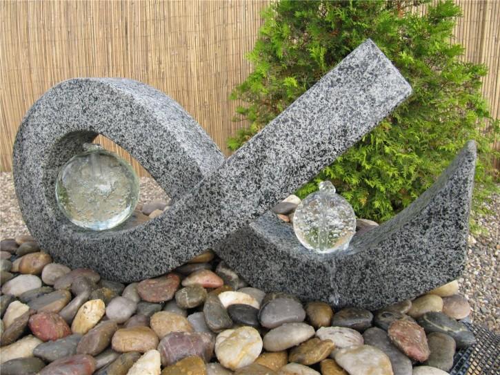 Wasserspiel SET Skulptur Jungbrunnen L80cm Granit Gartenbrunnen inkl. Pumpe