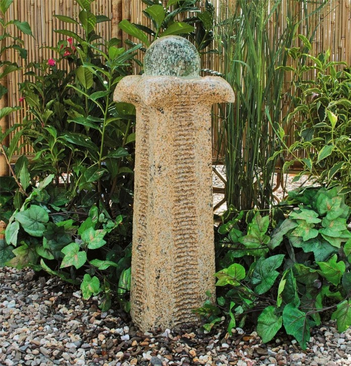 Wasserspiel SET Quellstein Säule Zihang 70cm Granit Gartenbrunnen inkl. Pumpe