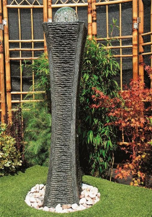 Wasserspiel SET Quellstein Säule Shima 110cm Granit Gartenbrunnen inkl. Pumpe