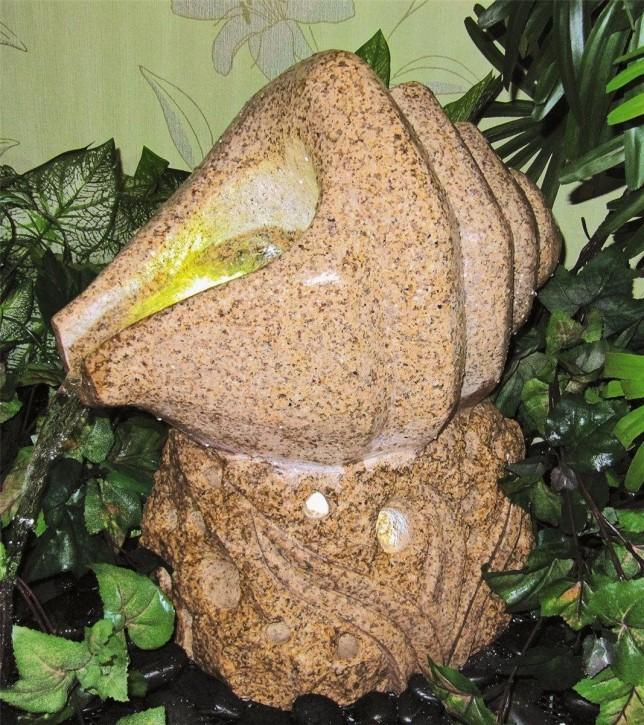 Wasserspiel SET Quellstein Skulptur Muschel L45cm Granit Gartenbrunnen