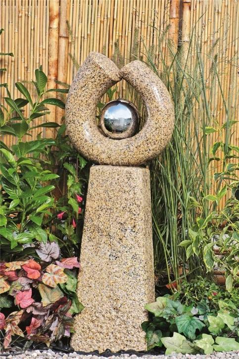 Wasserspiel SET Quellstein Skulptur Phönix 115cm Granit Gartenbrunnen inkl. Pumpe