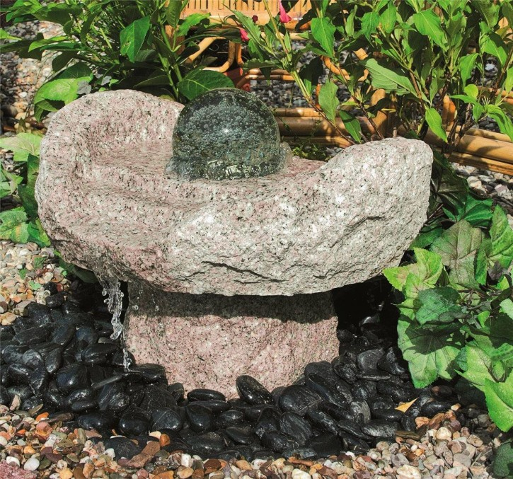Wasserspiel SET Quellstein Niagara Wasserfall 50cm Granit Gartenbrunnen dreh. Glaskugel