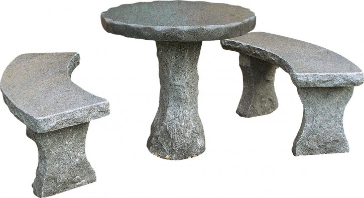 Sitzgruppe Zuo 3tlg. Gartenbank mit Tisch rund Granit anthrazit