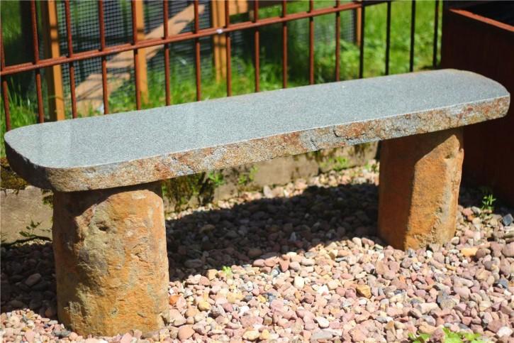 Gartenbank Yanshi L130cm Sitzbank Basalt teilpoliert