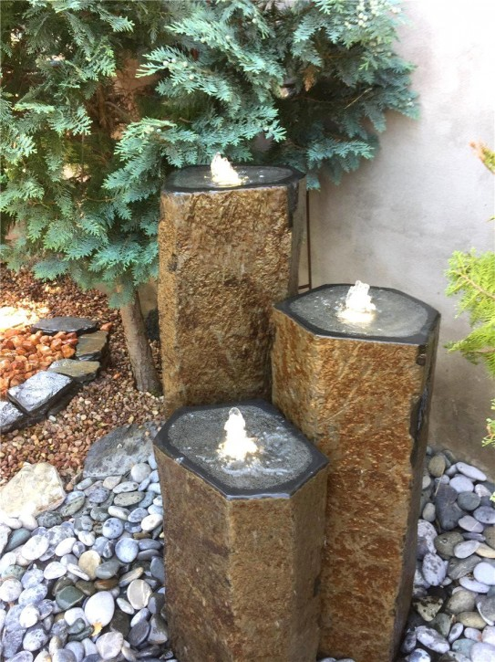 Wasserspiel SET Quellstein 3er Säulen 100cm Basalt Gartenbrunnen mit Quellschale