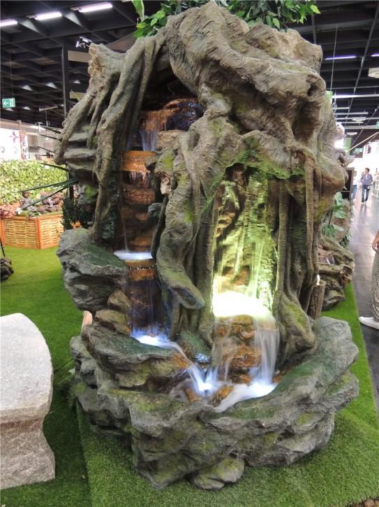 AUSSTELLUNGSSTÜCK! Zierbrunnen Jalony Gigant 198cm Polystone Wasserfall inkl. Pumpe und LED