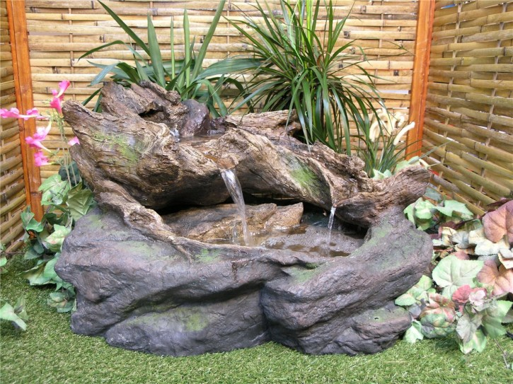 Zierbrunnen Chung L88cm Bachlauf Polystone Gartenbrunnen inkl. Pumpe und LED