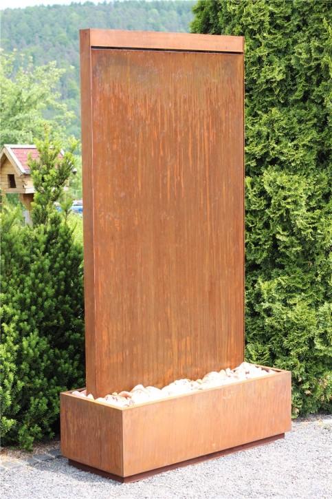 Wasserwand Cordon Gigant 220 Cortenstahl Gartenbrunnen Edelrost Design