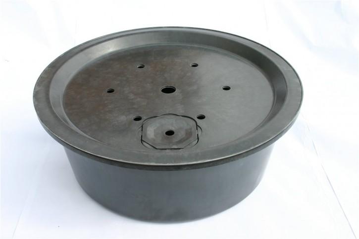 Fiberglas GFK Becken mit Deckel Ø 90 cm inkl. Stütze für Quellsteine Wasserspiele