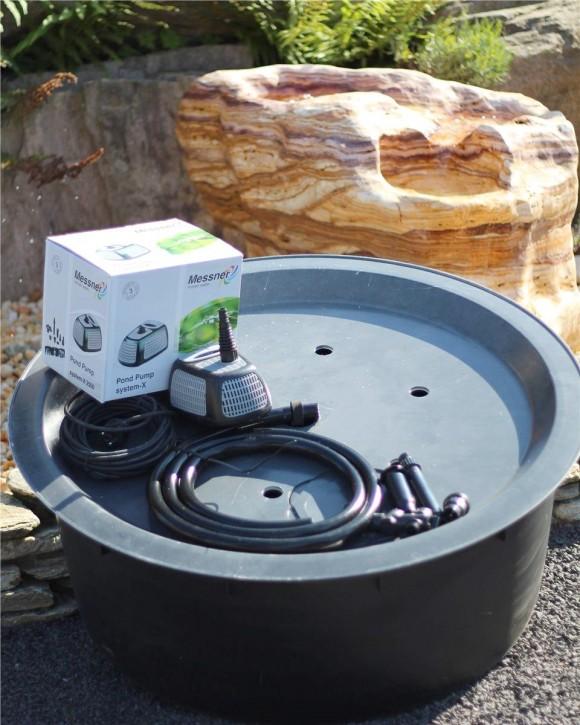 PE Becken mit GFK Deckel Ø90x35 | Pumpe Messner system-X 2500