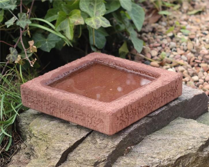 Vogeltränke Sandstein quadratisch 25cm Vogelbad für Garten
