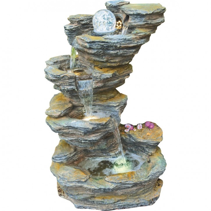 Fudong Wasserfall 86cm Polystone Brunnen Schiefer Optik inkl. Pumpe LED Glaskugel