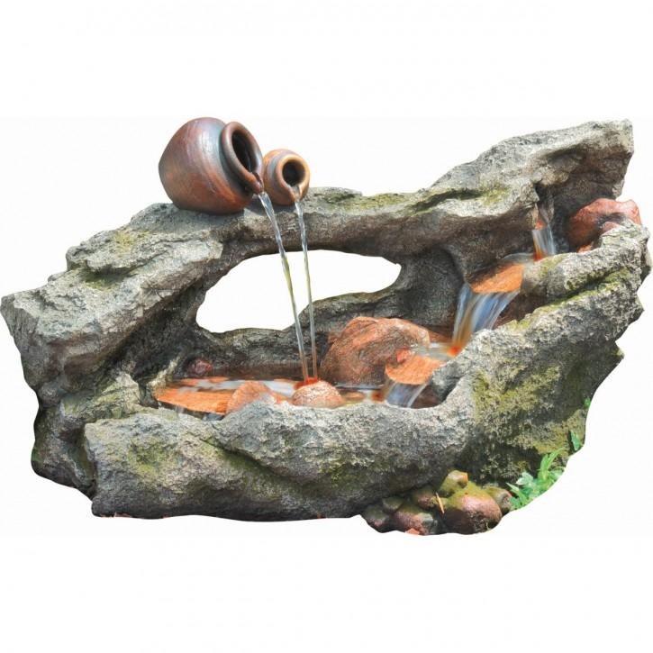 Huka Wasserlauf 102cm Polystone Brunnen Holz Optik inkl. Pumpe und LED