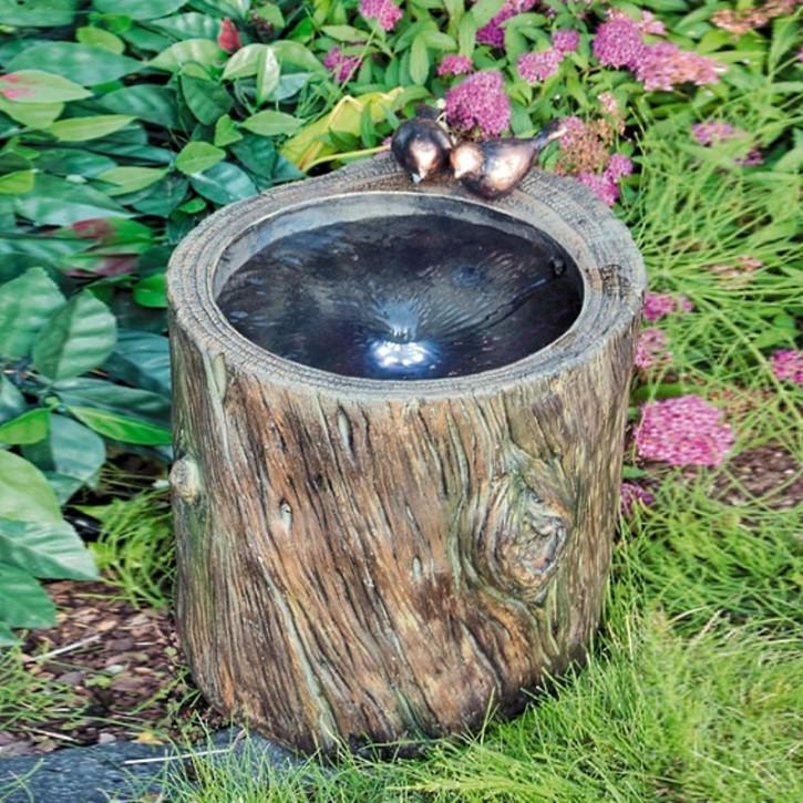 Twister Wasserspiel 40cm Polystone Brunnen Baumstamm Optik inkl. Pumpe LED