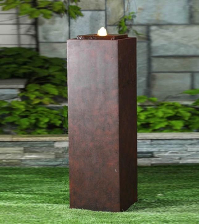 Colonna Brunnensäule 85cm Brunnen Antik-Rost Optik inkl. Pumpe und LED