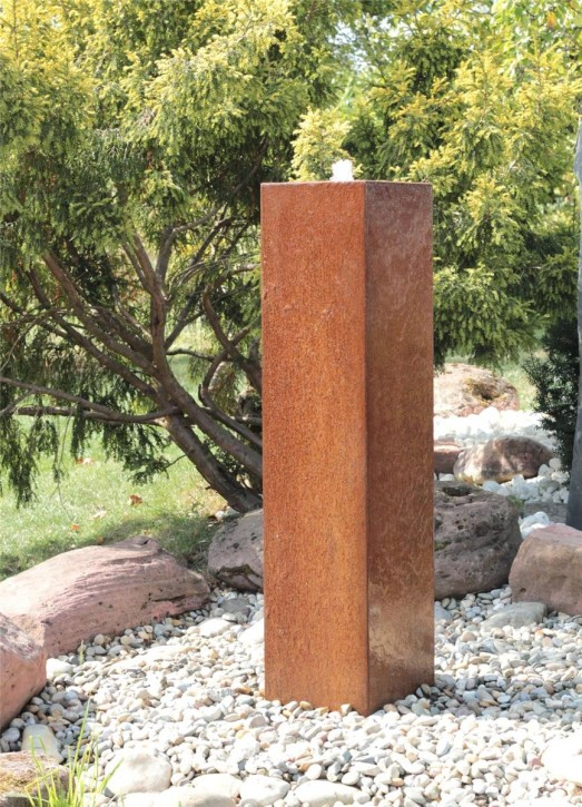 Cortenstahl Säule 125cm Edelrost Gartenbrunnen Springbrunnen Komplettset