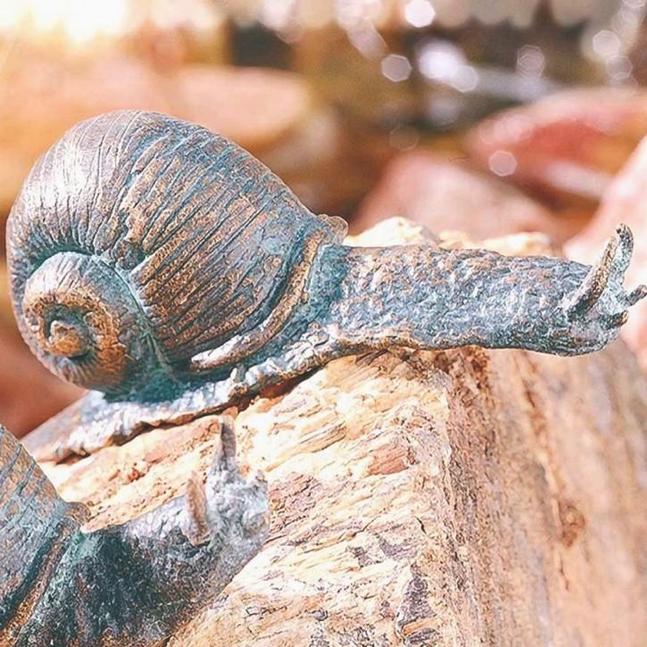 Bronzefigur Schnecke gebogen 8cm Gartenfigur Bronze Skulptur Rottenecker