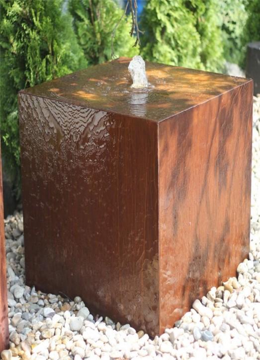 Cortenstahl Säule 100cm Edelrost Gartenbrunnen Springbrunnen Komplettset