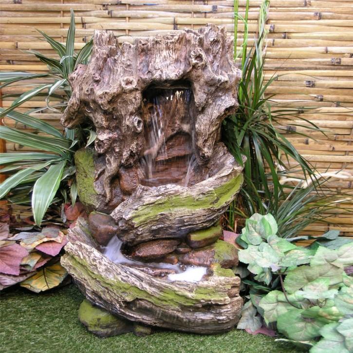 Kuru Wasserfall 80cm Polystone Brunnen Gartenbrunnen inkl. Pumpe und LED