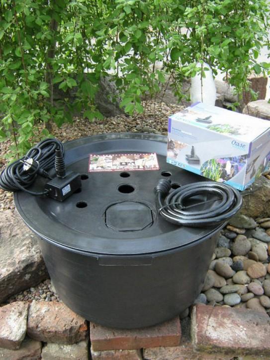 Komplett SET Becken Deckel Ø66cm | Pumpe Oase Aquarius 600 Brunnen Bausatz