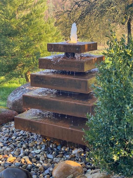 Wasserspiel SET Cortenstahl Pyramide 85 Edelrost Gartenbrunnen Springbrunnen