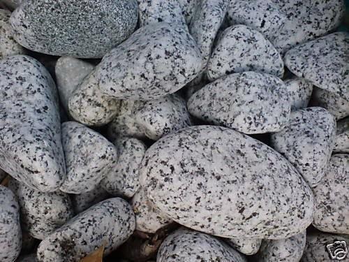 20kg (1,345 €/kg) Gletscher Granit edelgrau Ziersteine, gerundet 40-100mm