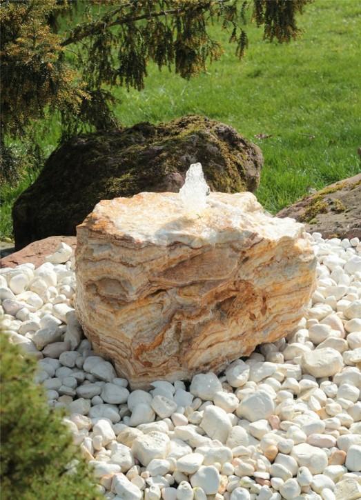 Quellstein Onyx Marmor L60xH33cm Gartenbrunnen Springbrunnen Komplettset