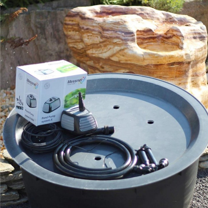 Fiberglas GFK Becken mit Deckel Ø120x60 | Pumpe Messner System-X 2500