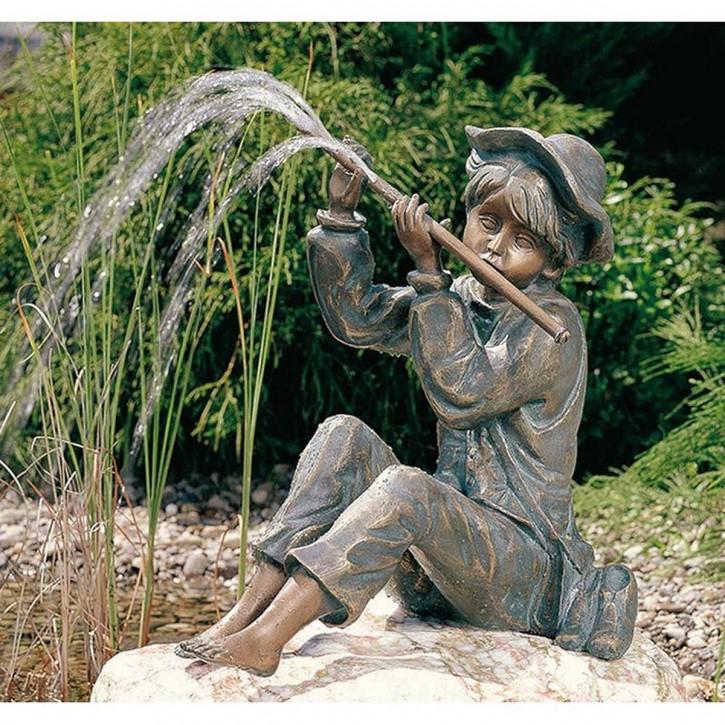 Wasserspeier Flötenspieler Hans 32cm Bronze Gartenfigur Teichfigur Rottenecker