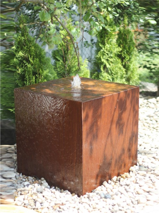 Wasserspiel SET Cortenstahl Würfel 30 Edelrost Gartenbrunnen Springbrunnen