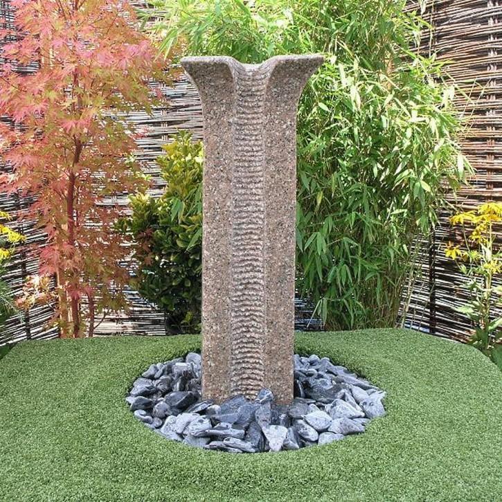 Quellstein Säule Zihang 70cm Granit rosa Gartenbrunnen Springbrunnen Komplettset