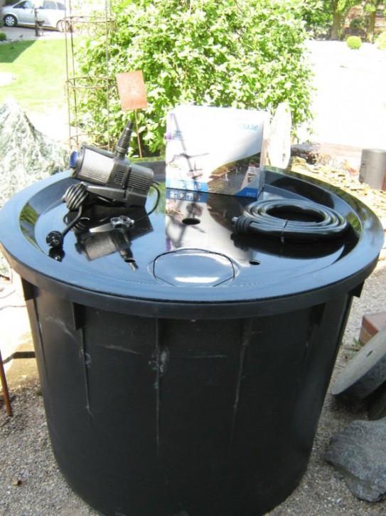 PE Becken mit GFK Deckel Ø80x65 | Pumpe Aquarius Universal Eco 3000