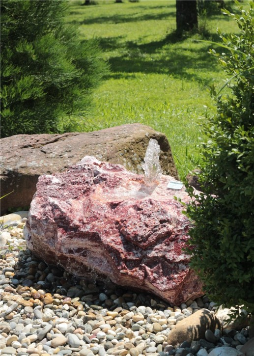 Quellstein Onyx Marmor Flamingo L90cm Gartenbrunnen Springbrunnen Komplettset
