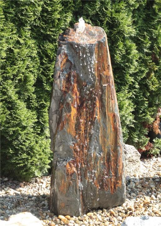 Quellstein Schiefer Monolith 140cm Gartenbrunnen Springbrunnen Komplettset