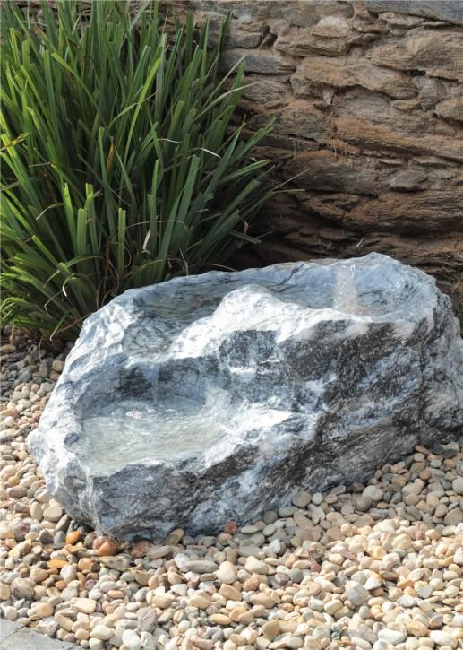 Quellstein Bachlauf Marmor anthrazit L90cm mit Quellschalen Gartenbrunnen Springbrunnen