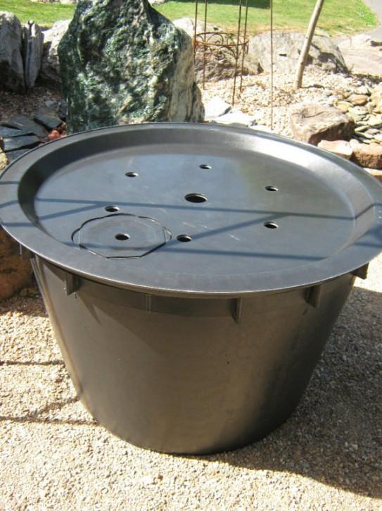 PE Becken mit GFK Deckel Ø 90 cm 230 Liter für Quellsteine Wasserspiele Zierbrunnen