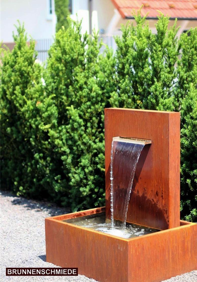 Wasserspiel Cortenstahl Wasserfall L30cm Gartenbrunnen Edelrost ...