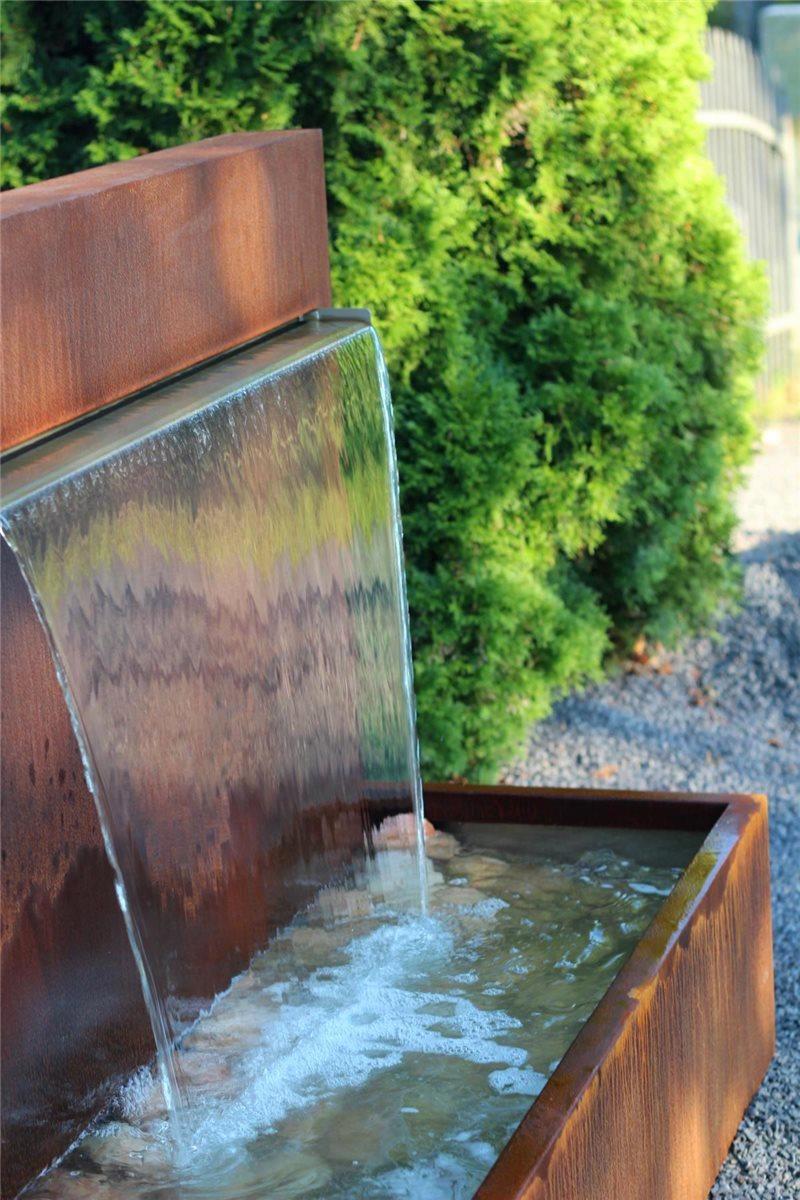 Wasserspiel Cortenstahl Wasserfall L 90 cm Gartenbrunnen Edelrost ...