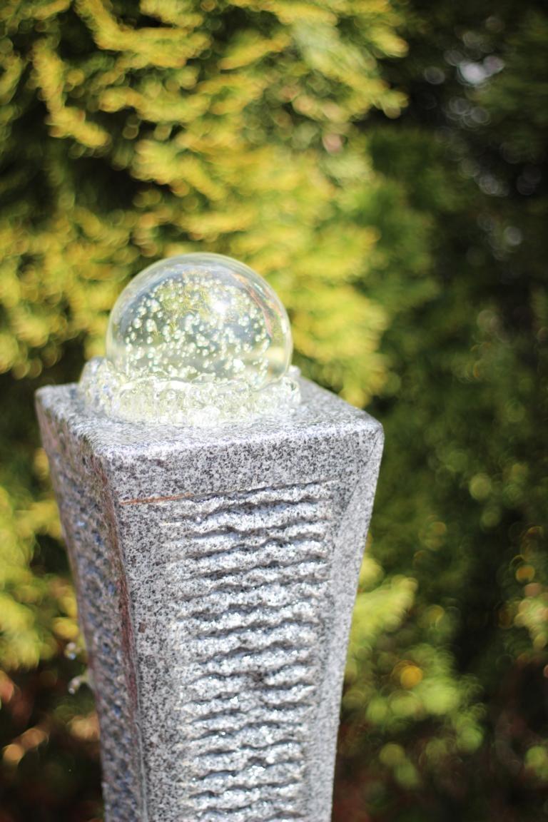 Gartenbrunnen Granit Mit Beleuchtung | Wasserspiel Set Quellstein Saule Shima 50cm Granit Gartenbrunnen