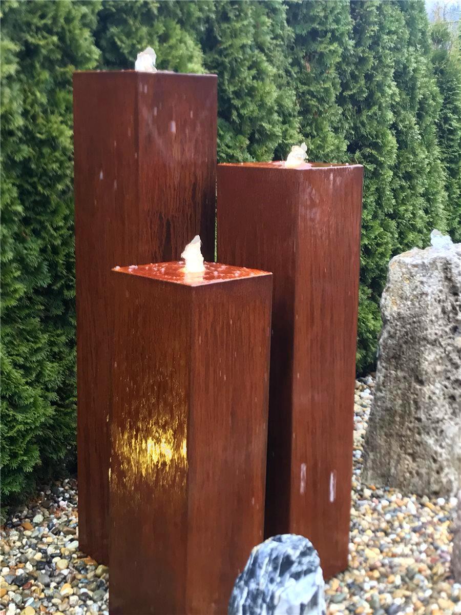 Wasserspiel SET Cortenstahl 3er Säulen 150cm Gartenbrunnen Edelrost ...