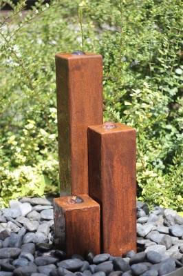 Wasserspiel SET Cortenstahl 3er Säulen 60cm Springbrunnen Edelrost Design