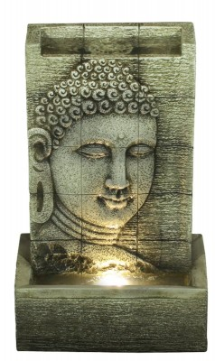 Zimmerbrunnen Buddha Design 40 Polystone Brunnen Raumbrunnen inkl. LED