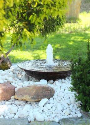 Cortenstahl Wasserschale 60 mit Fontäne Edelrost Springbrunnen Komplettset