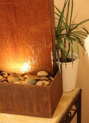 Zimmerbrunnen Cordon 60 | Cortenstahl Wasserwand Edelrost Design