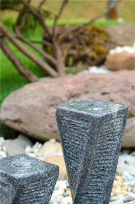 Wasserspiel SET Quellstein Säulen Xuan 50cm Granit Gartenbrunnen Springbrunnen