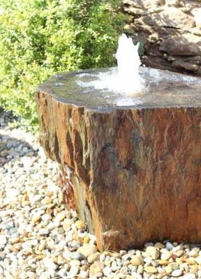 Quellstein Schiefer 60cm mit Quellschale Komplettset Gartenbrunnen Springbrunnen