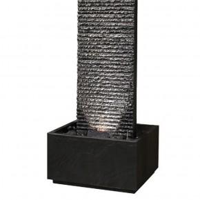 Wasserwand Lamelle 178 black inkl. Pumpe und LED Zimmerbrunnen in Schiefer Optik